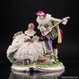 Арлекин и дама с книгой, кружевная, Unterweissbach, Германия, сер. 20 в