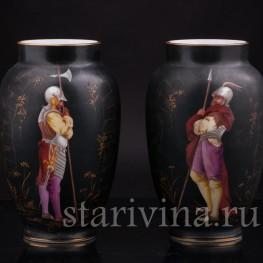 Парные фарфоровые вазы Два стражника, Франция,, кон. 19 века.