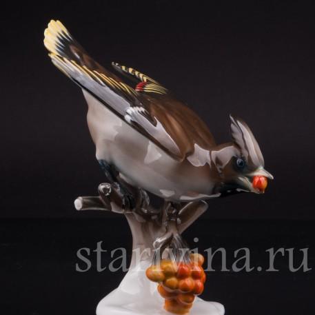 Фигурка птицы из фарфора Свиристель на рябине, Rosenthal, Германия, 1956 год.