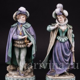 Фарфоровые статуэтки Галантная пара эпохи возрождения, Volkstedt, Германия, 19 в.
